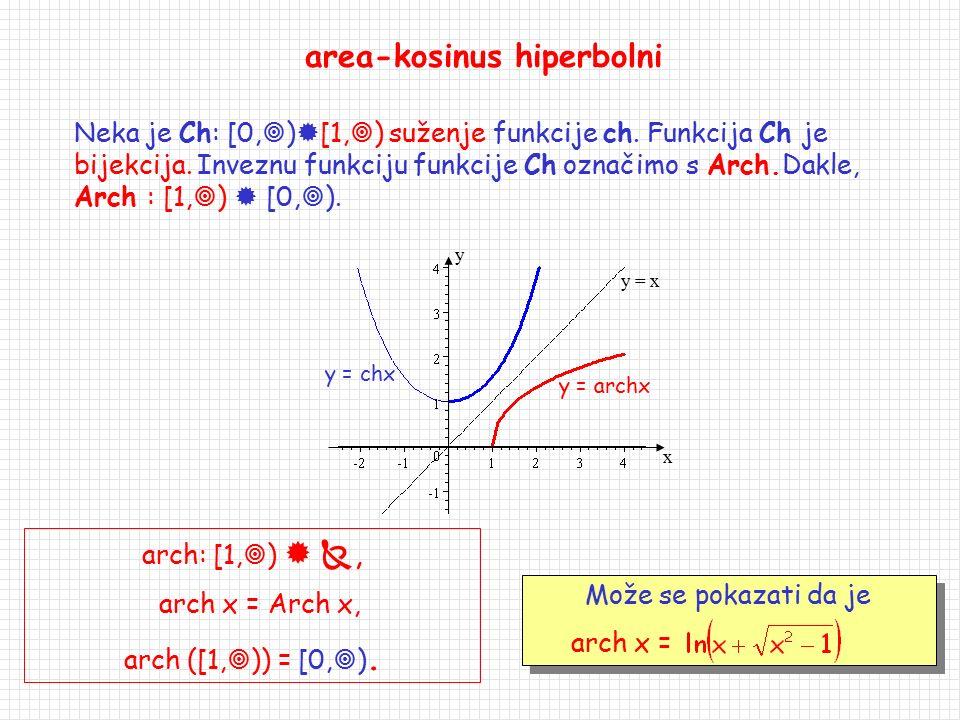 Area-funkcije f(x) = arsh x, f:   , f(  ) =  area-sinus hiperbolni Funkcija sh:    je bijekcija. Inveznu funkciju funkcije sh nazivamo area-si