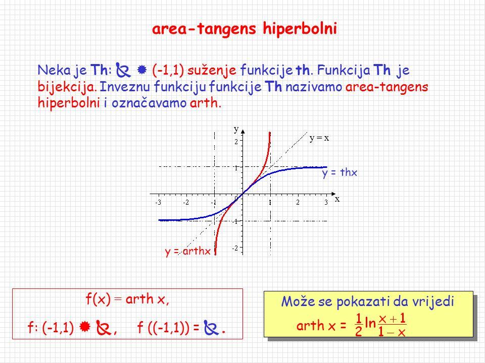 arch: [1,  )  , arch x = Arch x, arch ([1,  )) = [0,  ). area-kosinus hiperbolni Neka je Ch: [0,  )  [1,  ) suženje funkcije ch. Funkcija Ch j