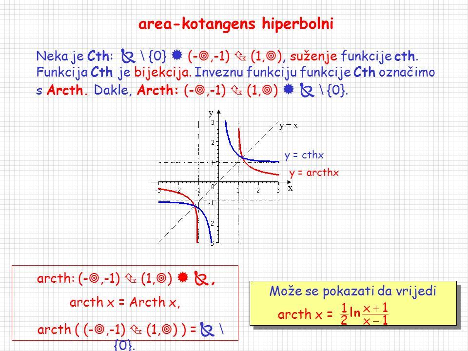 f(x) = arth x, f: (-1,1)  , f ((-1,1)) = . area-tangens hiperbolni Neka je Th:   (-1,1) suženje funkcije th. Funkcija Th je bijekcija. Inveznu fu