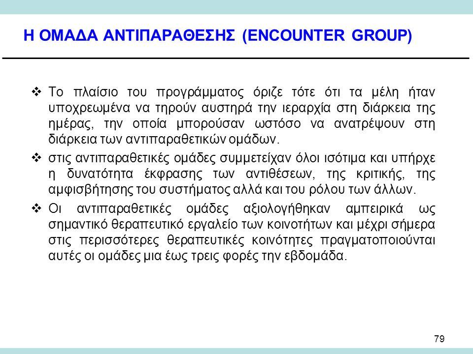 79 Η ΟΜΑΔΑ ΑΝΤΙΠΑΡΑΘΕΣΗΣ (ENCOUNTER GROUP)  Το πλαίσιο του προγράμματος όριζε τότε ότι τα μέλη ήταν υποχρεωμένα να τηρούν αυστηρά την ιεραρχία στη διάρκεια της ημέρας, την οποία μπορούσαν ωστόσο να ανατρέψουν στη διάρκεια των αντιπαραθετικών ομάδων.