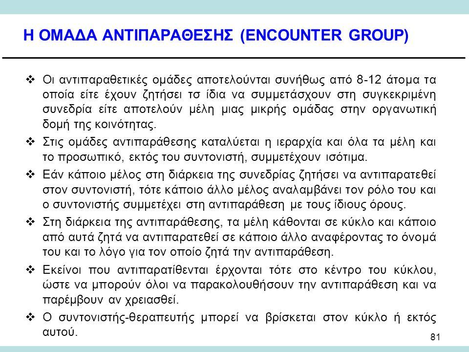 81 Η ΟΜΑΔΑ ΑΝΤΙΠΑΡΑΘΕΣΗΣ (ENCOUNTER GROUP)  Οι αντιπαραθετικές ομάδες αποτελούνται συνήθως από 8-12 άτομα τα οποία είτε έχουν ζητήσει τσ ίδια να συμμετάσχουν στη συγκεκριμένη συνεδρία είτε αποτελούν μέλη μιας μικρής ομάδας στην οργανωτική δομή της κοινότητας.