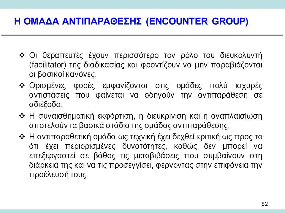 82 Η ΟΜΑΔΑ ΑΝΤΙΠΑΡΑΘΕΣΗΣ (ENCOUNTER GROUP)  Οι θεραπευτές έχουν περισσότερο τον ρόλο του διευκολυντή (facilitator) της διαδικασίας και φροντίζουν να μην παραβιάζονται οι βασικοί κανόνες.