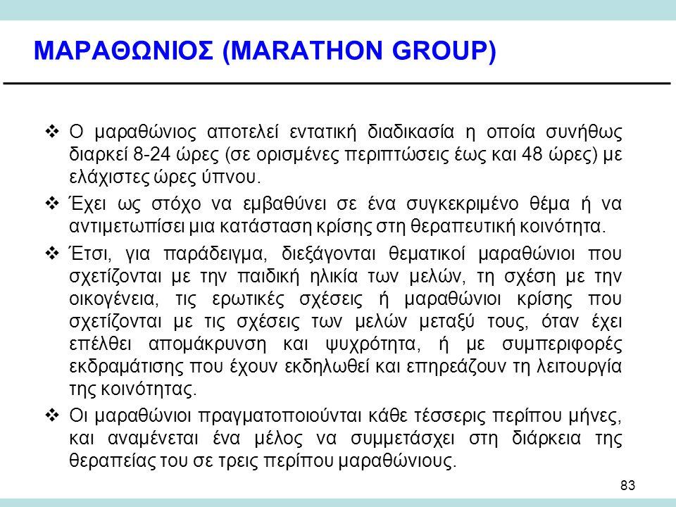 83 ΜΑΡΑΘΩΝΙΟΣ (MARATHON GROUP)  Ο μαραθώνιος αποτελεί εντατική διαδικασία η οποία συνήθως διαρκεί 8-24 ώρες (σε ορισμένες περιπτώσεις έως και 48 ώρες) με ελάχιστες ώρες ύπνου.
