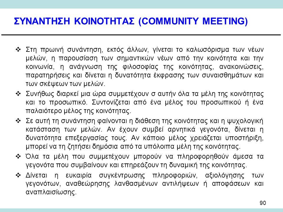 90 ΣΥΝΑΝΤΗΣΗ ΚΟΙΝΟΤΗΤΑΣ (COMMUNITY MEETING)  Στη πρωινή συνάντηση, εκτός άλλων, γίνεται το καλωσόρισμα των νέων μελών, η παρουσίαση των σημαντικών νέων από την κοινότητα και την κοινωνία, η ανάγνωση της φιλοσοφίας της κοινότητας, ανακοινώσεις, παρατηρήσεις και δίνεται η δυνατότητα έκφρασης των συναισθημάτων και των σκέψεων των μελών.