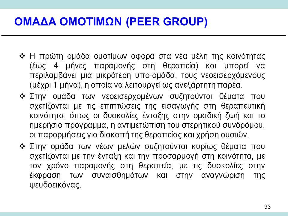 93 ΟΜΑΔΑ ΟΜΟΤΙΜΩΝ (PEER GROUP)  Η πρώτη ομάδα ομοτίμων αφορά στα νέα μέλη της κοινότητας (έως 4 μήνες παραμονής στη θεραπεία) και μπορεί να περιλαμβάνει μια μικρότερη υπο-ομάδα, τους νεοεισερχόμενους (μέχρι 1 μήνα), η οποία να λειτουργεί ως ανεξάρτητη παρέα.
