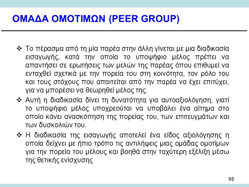 95 ΟΜΑΔΑ ΟΜΟΤΙΜΩΝ (PEER GROUP)  Το πέρασμα από τη μία παρέα στην άλλη γίνεται με μια διαδικασία εισαγωγής, κατά την οποία το υποψήφιο μέλος πρέπει να απαντήσει σε ερωτήσεις των μελών της παρέας όπου επιθυμεί να ενταχθεί σχετικά με την πορεία του στη κοινότητα, τον ρόλο του και τους στόχους που απαιτείται από την παρέα να έχει επιτύχει, για να μπορέσει να θεωρηθεί μέλος της.