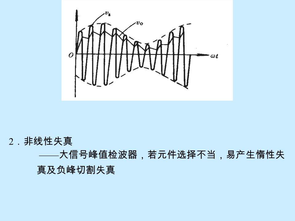 "(2)u g 为调幅波高频信号 —— 若 u g 为调幅波,不难理解其电容充放电的波形( u o )是 随着调幅波的包络线而变化的。只要将其中的高频波纹加以 滤除,便可得到与调幅包络相同的低频信号,即为原调制信 号。如下图所示。因此,称 "" 大信号峰值包络检波器 "" 。"