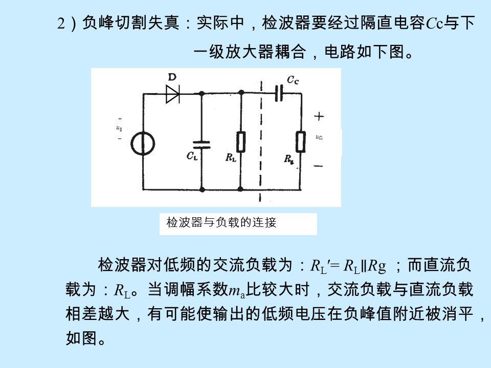 1 )惰性失真:若增大 R L C L 值可提高检波电压传输系数,且 能提高滤波性能。但过分增大 R L C L 值,会减 慢 C L 放电速度,以致跟不上调幅波振幅包络 的下降,产生如下图所示的惰性失真。 惰性失真