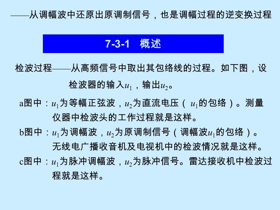 7-3-1 概述 —— 从调幅波中还原出原调制信号,也是调幅过程的逆变换过程 检波过程 —— 从高频信号中取出其包络线的过程。如下图,设 检波器的输入 u 1 ,输出 u 2 。 a 图中: u 1 为等幅正弦波, u 2 为直流电压( u 1 的包络)。测量 仪器中检波头的工作过程就是这样。 b 图中: u 1 为调幅波, u 2 为原调制信号(调幅波 u 1 的包络)。 无线电广播收音机及电视机中的检波情况就是这样。 c 图中: u 1 为脉冲调幅波, u 2 为脉冲信号。雷达接收机中检波过 程就是这样。