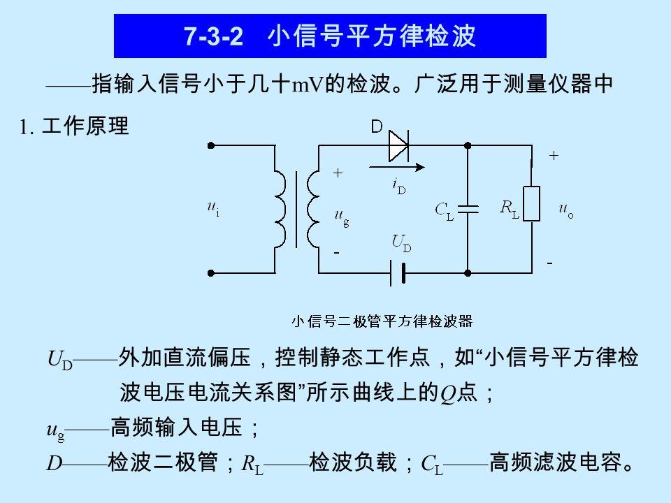 2 )负峰切割失真:实际中,检波器要经过隔直电容 Cc 与下 一级放大器耦合,电路如下图。 检波器与负载的连接 uΩuΩ +ug_+ug_ 检波器对低频的交流负载为: R L ′= R L ∥ Rg ;而直流负 载为: R L 。当调幅系数 m a 比较大时,交流负载与直流负载 相差越大,有可能使输出的低频电压在负峰值附近被消平, 如图。