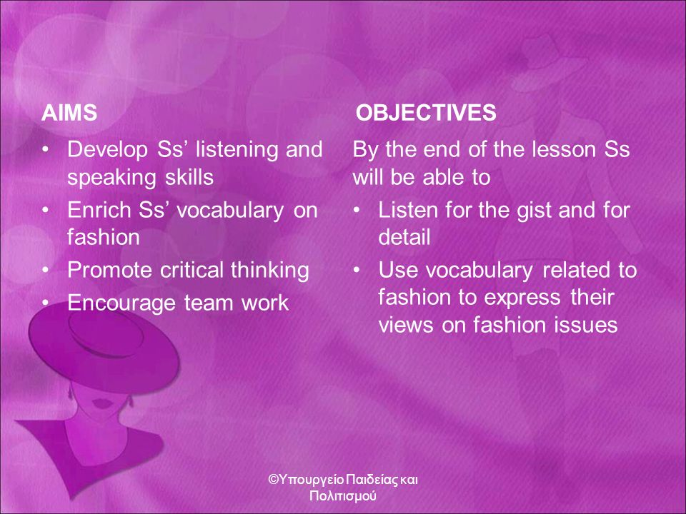 AIMS Develop Ss' listening and speaking skills Enrich Ss' vocabulary on fashion Promote critical thinking Encourage team work OBJECTIVES By the end of