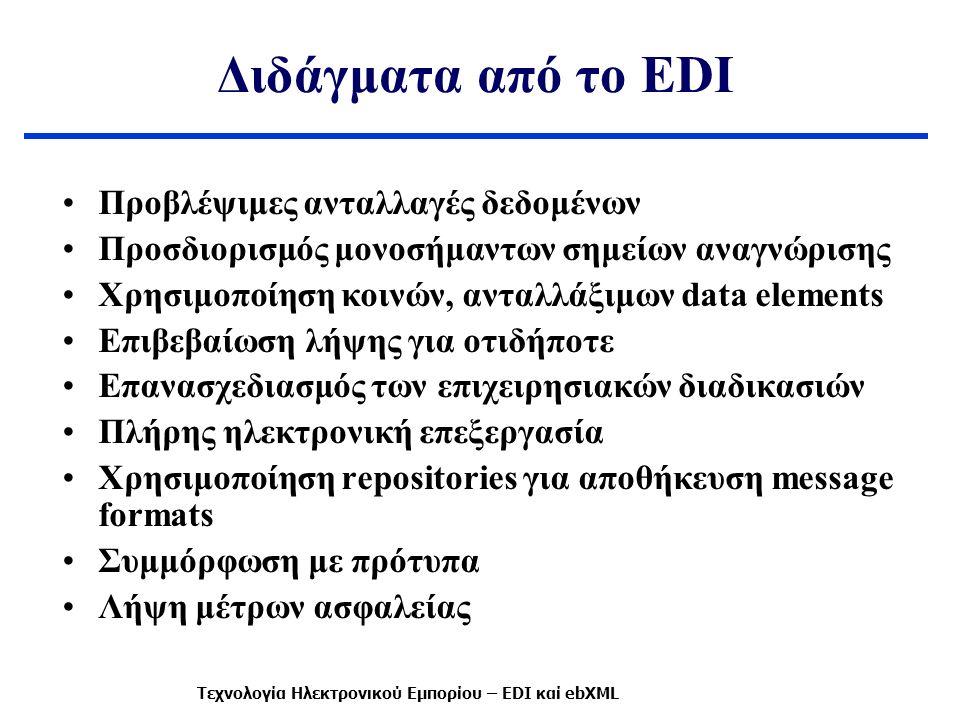 Διδάγματα από το EDI Προβλέψιμες ανταλλαγές δεδομένων Προσδιορισμός μονοσήμαντων σημείων αναγνώρισης Χρησιμοποίηση κοινών, ανταλλάξιμων data elements Επιβεβαίωση λήψης για οτιδήποτε Επανασχεδιασμός των επιχειρησιακών διαδικασιών Πλήρης ηλεκτρονική επεξεργασία Χρησιμοποίηση repositories για αποθήκευση message formats Συμμόρφωση με πρότυπα Λήψη μέτρων ασφαλείας Τεχνολογία Ηλεκτρονικού Εμπορίου – EDI καί ebXML