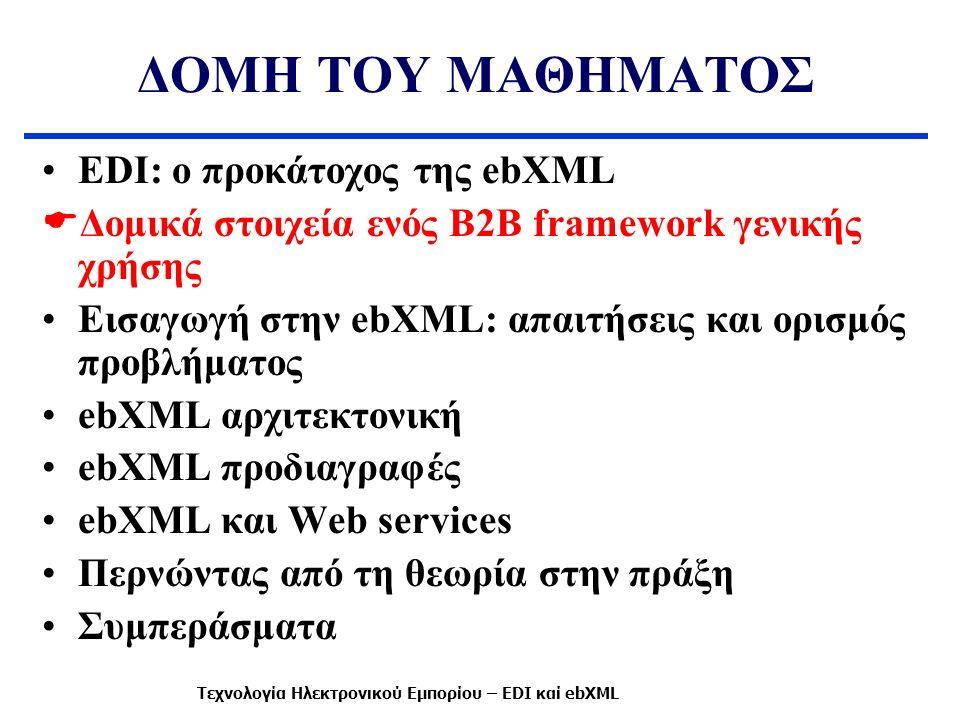 ΔΟΜΗ ΤΟΥ ΜΑΘΗΜΑΤΟΣ EDI: ο προκάτοχος της ebXML  Δομικά στοιχεία ενός B2B framework γενικής χρήσης Εισαγωγή στην ebXML: απαιτήσεις και ορισμός προβλήμ