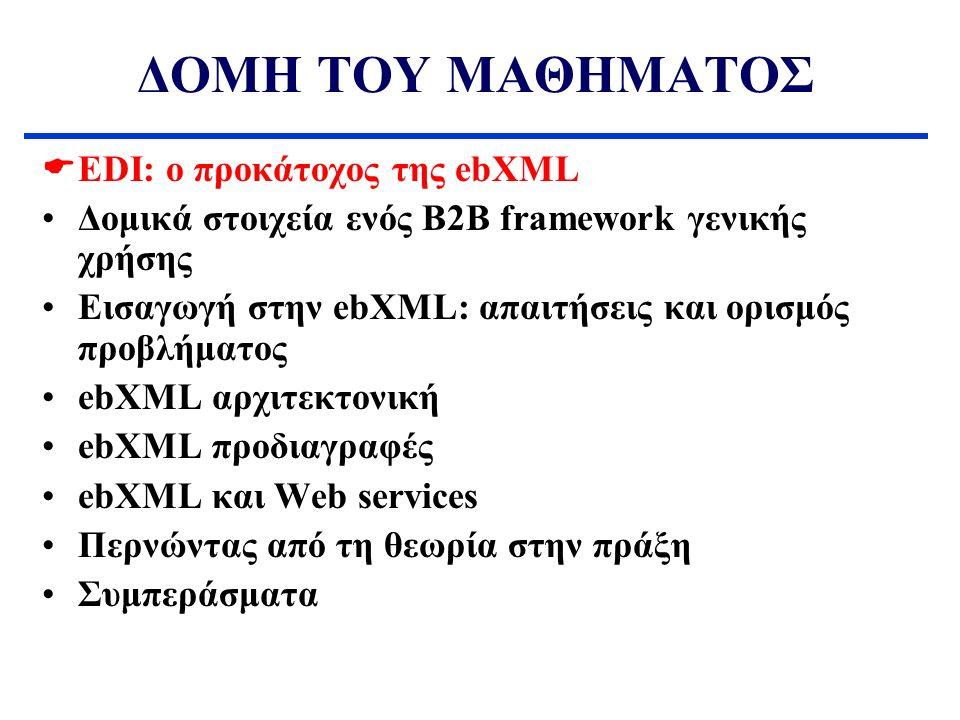 ΔΟΜΗ ΤΟΥ ΜΑΘΗΜΑΤΟΣ EDI: ο προκάτοχος της ebXML  Δομικά στοιχεία ενός B2B framework γενικής χρήσης Εισαγωγή στην ebXML: απαιτήσεις και ορισμός προβλήματος ebXML αρχιτεκτονική ebXML προδιαγραφές ebXML και Web services Περνώντας από τη θεωρία στην πράξη Συμπεράσματα Τεχνολογία Ηλεκτρονικού Εμπορίου – EDI καί ebXML