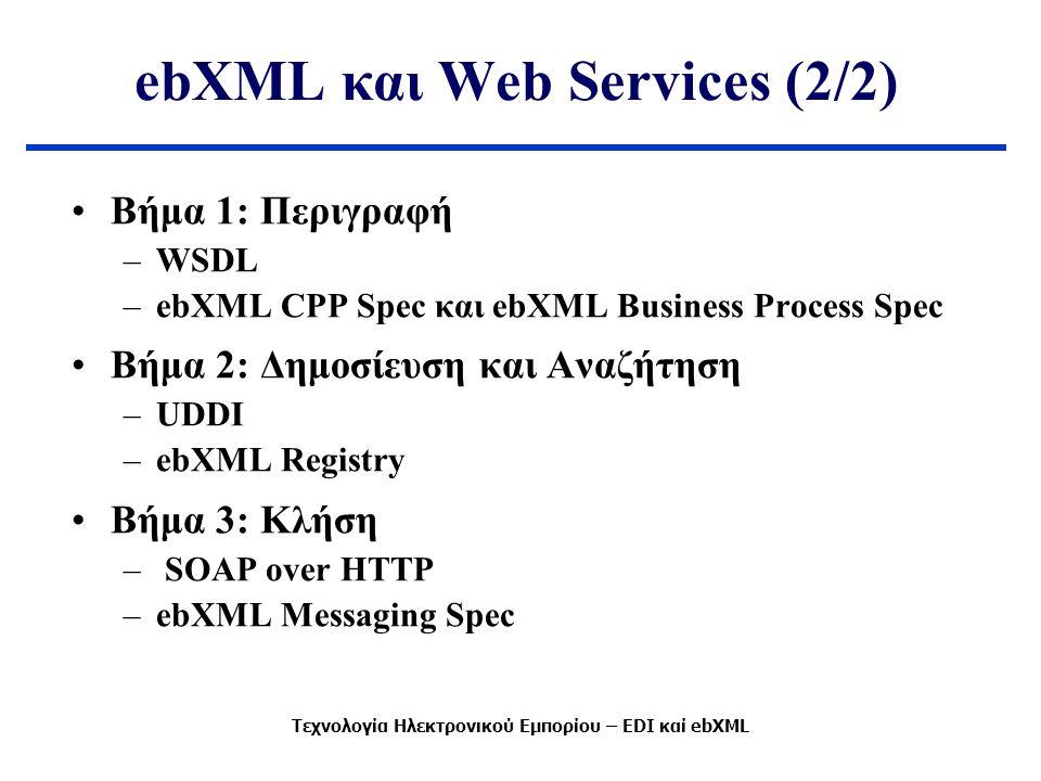 ebXML και Web Services (2/2) Βήμα 1: Περιγραφή –WSDL –ebXML CPP Spec και ebXML Business Process Spec Βήμα 2: Δημοσίευση και Αναζήτηση –UDDI –ebXML Registry Βήμα 3: Κλήση – SOAP over HTTP –ebXML Messaging Spec Τεχνολογία Ηλεκτρονικού Εμπορίου – EDI καί ebXML