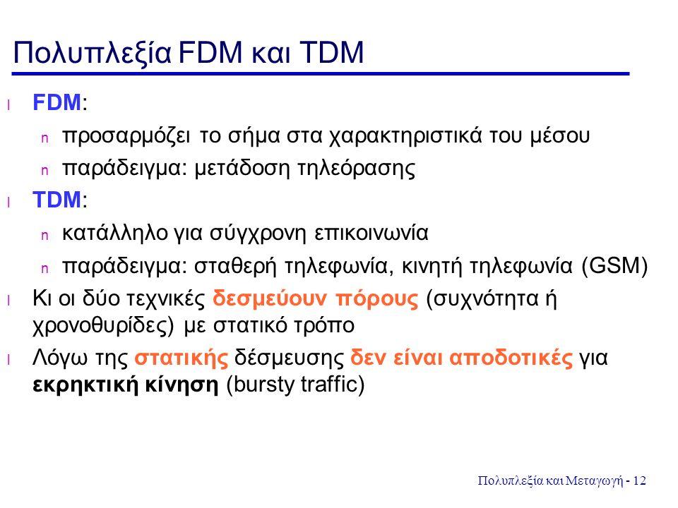 Πολυπλεξία και Μεταγωγή - 12 Πολυπλεξία FDM και TDM FDM: προσαρμόζει το σήμα στα χαρακτηριστικά του μέσου παράδειγμα: μετάδοση τηλεόρασης TDM: κατάλληλο για σύγχρονη επικοινωνία παράδειγμα: σταθερή τηλεφωνία, κινητή τηλεφωνία (GSM) Κι οι δύο τεχνικές δεσμεύουν πόρους (συχνότητα ή χρονοθυρίδες) με στατικό τρόπο Λόγω της στατικής δέσμευσης δεν είναι αποδοτικές για εκρηκτική κίνηση (bursty traffic)