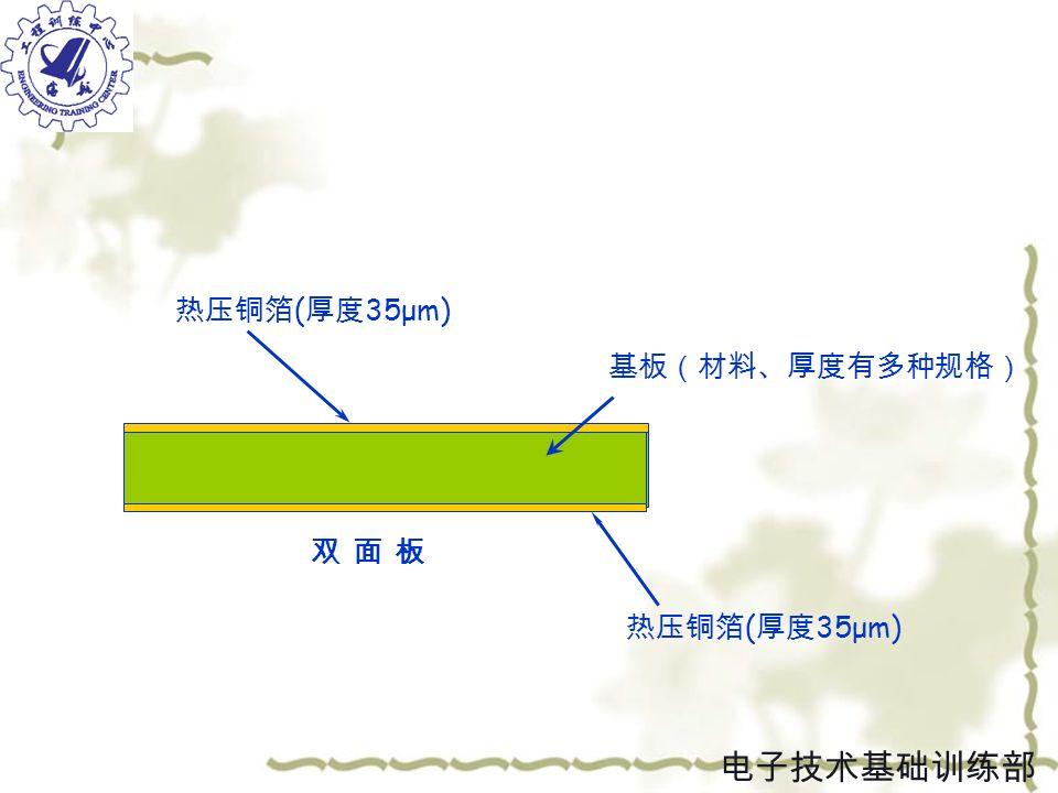 双 面 板双 面 板 热压铜箔 ( 厚度 35μm) 热压铜箔 ( 厚度 35μm) 基板(材料、厚度有多种规格) 电子技术基础训练部