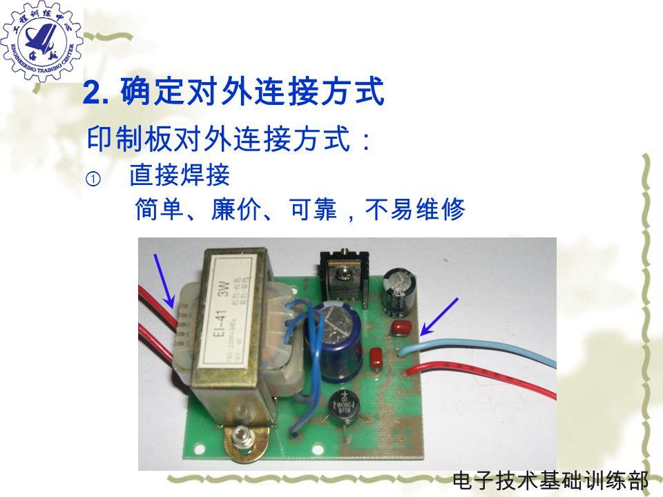 2. 确定对外连接方式 印制板对外连接方式: ① 直接焊接 简单、廉价、可靠,不易维修 电子技术基础训练部