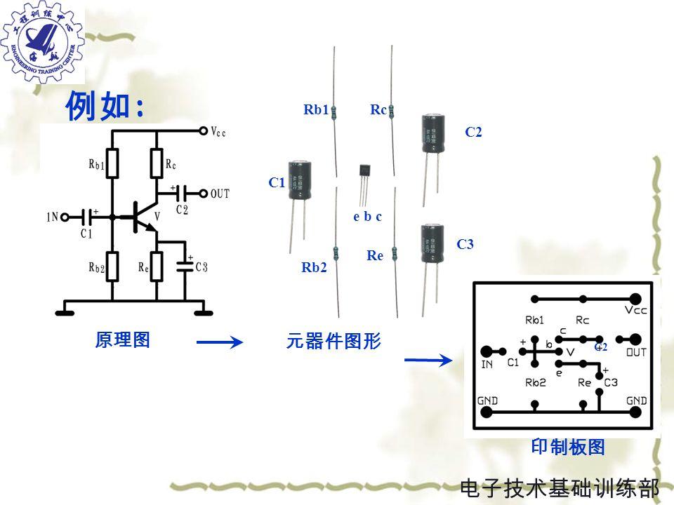 原理图 印制板图 元器件图形 e b c Rb1 Re Rc C3 C2 C1 Rb2 例如 : C2 电子技术基础训练部