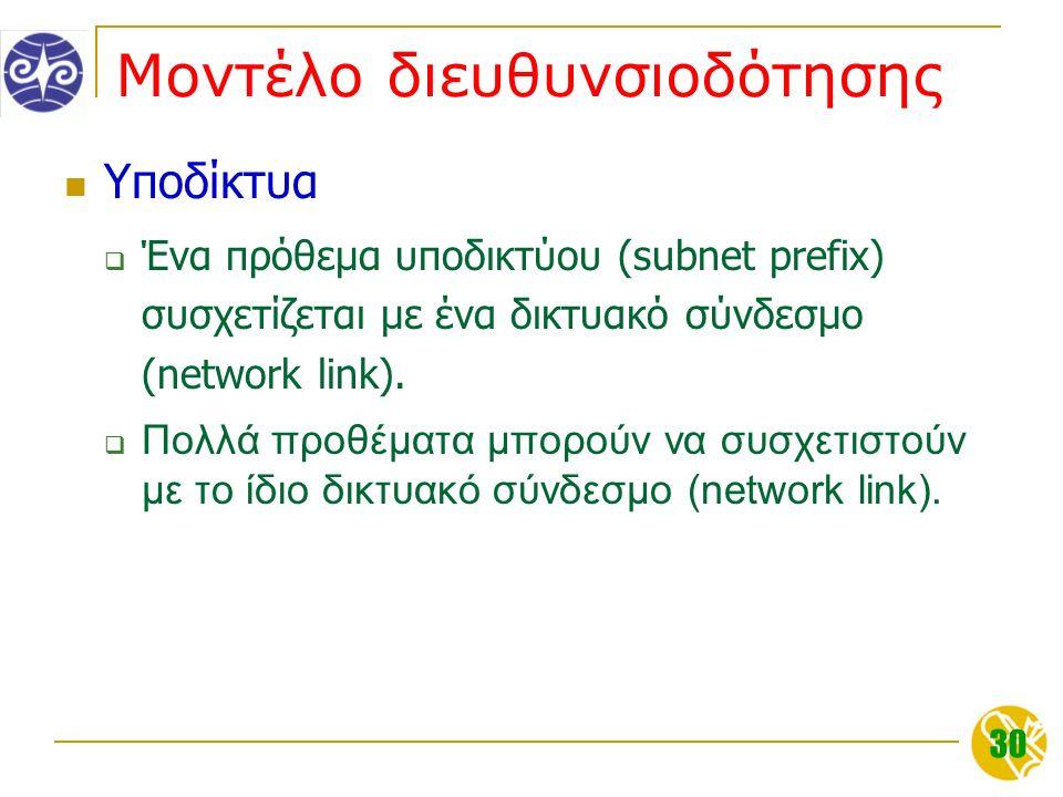 30 Μοντέλο διευθυνσιοδότησης Υποδίκτυα  Ένα πρόθεμα υποδικτύου (subnet prefix) συσχετίζεται με ένα δικτυακό σύνδεσμο (network link).