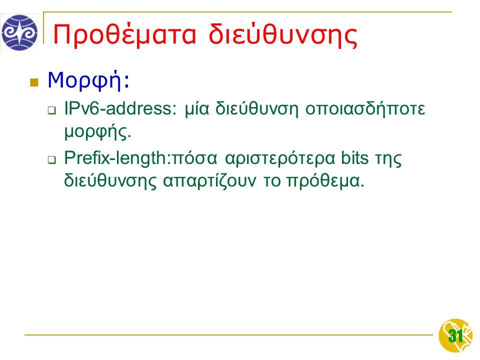 31 Προθέματα διεύθυνσης Μορφή:  IPv6-address: μία διεύθυνση οποιασδήποτε μορφής.