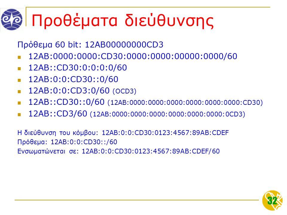 32 Προθέματα διεύθυνσης Πρόθεμα 60 bit: 12AB00000000CD3 12AB:0000:0000:CD30:0000:0000:00000:0000/60 12AB::CD30:0:0:0:0/60 12AB:0:0:CD30::0/60 12AB:0:0:CD3:0/60 (OCD3) 12AB::CD30::0/60 (12AB:0000:0000:0000:0000:0000:0000:CD30) 12AB::CD3/60 (12AB:0000:0000:0000:0000:0000:0000:0CD3) Η διεύθυνση του κόμβου: 12AB:0:0:CD30:0123:4567:89AB:CDEF Πρόθεμα: 12AB:0:0:CD30::/60 Ενσωματώνεται σε: 12AB:0:0:CD30:0123:4567:89AB:CDEF/60