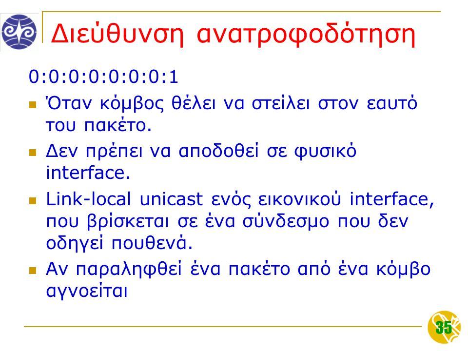 35 Διεύθυνση ανατροφοδότηση 0:0:0:0:0:0:0:1 Όταν κόμβος θέλει να στείλει στον εαυτό του πακέτο.