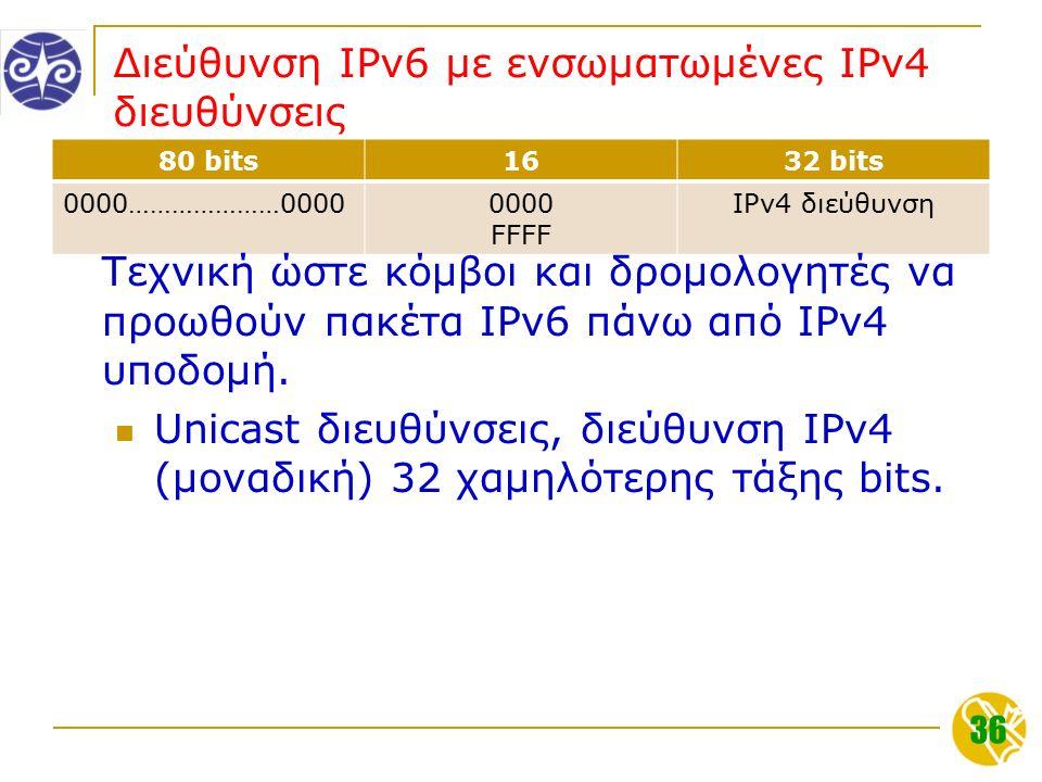 36 Διεύθυνση IPv6 με ενσωματωμένες IPv4 διευθύνσεις 80 bits1632 bits 0000…………………00000000 FFFF IPv4 διεύθυνση Τεχνική ώστε κόμβοι και δρομολογητές να προωθούν πακέτα IPv6 πάνω από IPv4 υποδομή.