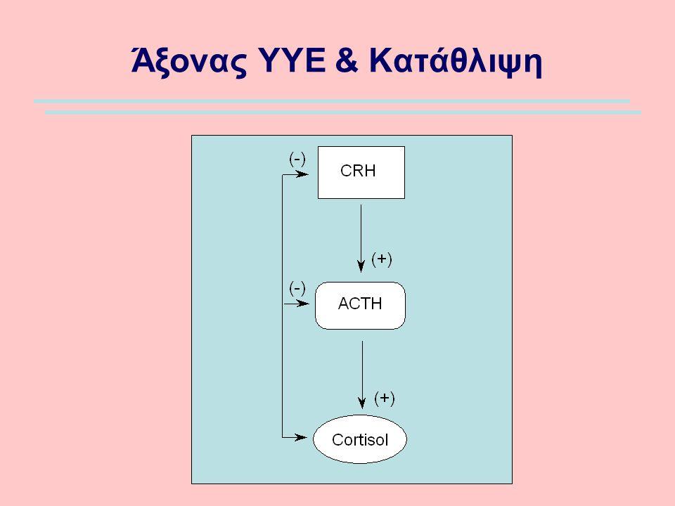 Υπερκογχικός Προμετωπιαίος Φλοιός Orbital Prefrontal Cortex Η περιοχή δέχεται πληροφορίες από την αμυγδαλή (φόβος) Ασθενείς με MDD έχουν μειωμένο αριθμό νευρώνων σε πρόσθιες περιοχές (πολλά τοπικά ανασταλτικά κυκλώματα εκεί) Όμως, αυξημένη αιματική ροή και μεταβολισμός που αντιστρέφονται με αντικαταθλιπτική θεραπεία