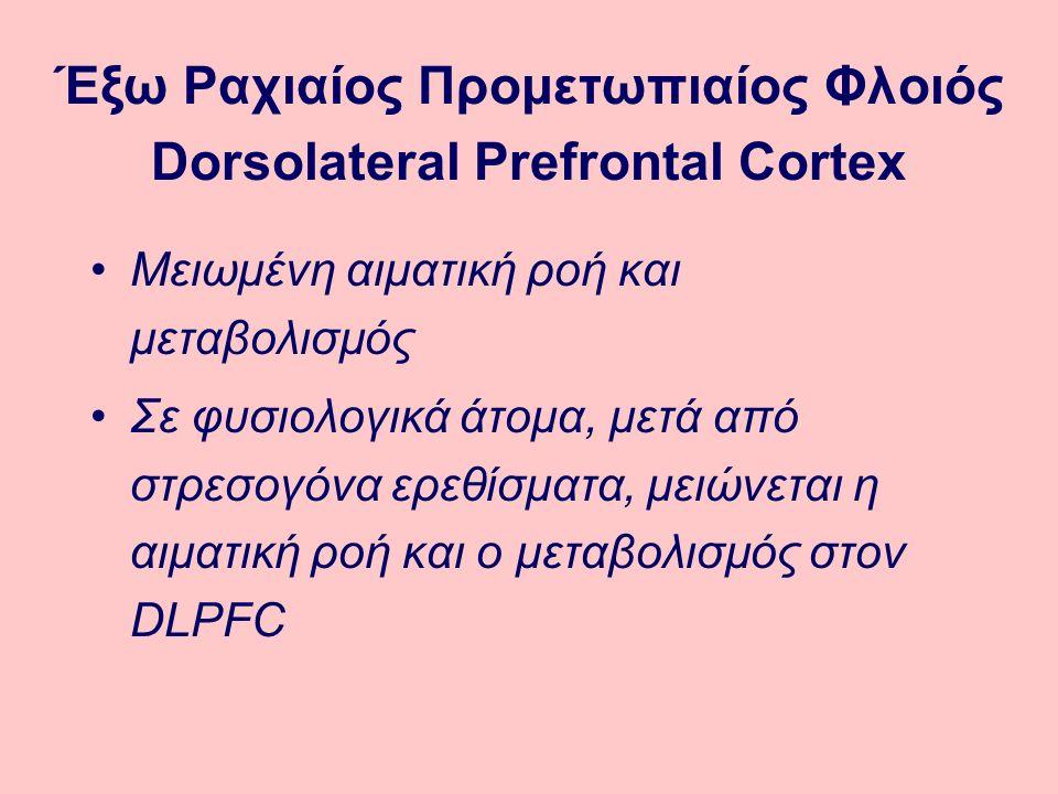 Μειωμένη αιματική ροή και μεταβολισμός Σε φυσιολογικά άτομα, μετά από στρεσογόνα ερεθίσματα, μειώνεται η αιματική ροή και ο μεταβολισμός στον DLPFC Έξω Ραχιαίος Προμετωπιαίος Φλοιός Dorsolateral Prefrontal Cortex