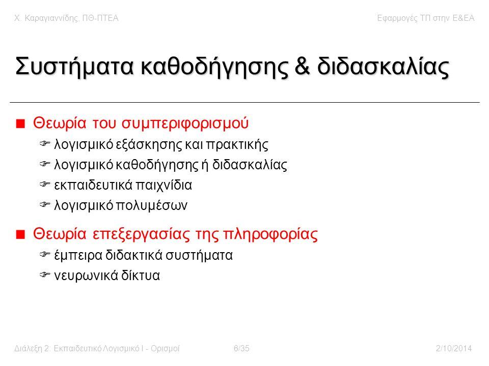 Χ. Καραγιαννίδης, ΠΘ-ΠΤΕΑΕφαρμογές ΤΠ στην E&EA Διάλεξη 2: Εκπαιδευτικό Λογισμικό Ι - Ορισμοί6/352/10/2014 Συστήματα καθοδήγησης & διδασκαλίας Θεωρία
