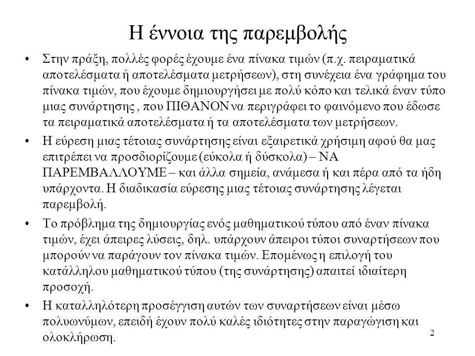 Άσκηση 63 Determine ln(2) using the following table