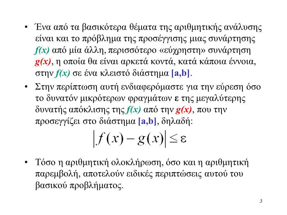 Ένα από τα βασικότερα θέματα της αριθμητικής ανάλυσης είναι και το πρόβλημα της προσέγγισης μιας συνάρτησης f(x) από μία άλλη, περισσότερο «εύχρηστη»