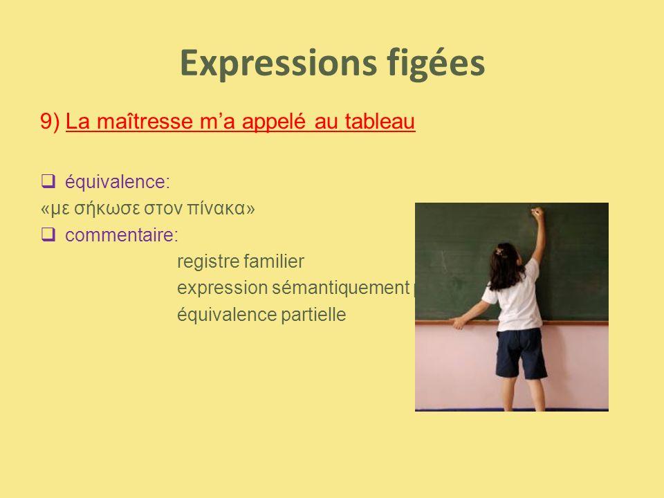 Expressions figées 9) La maîtresse m'a appelé au tableau  équivalence: «με σήκωσε στον πίνακα»  commentaire: registre familier expression sémantique