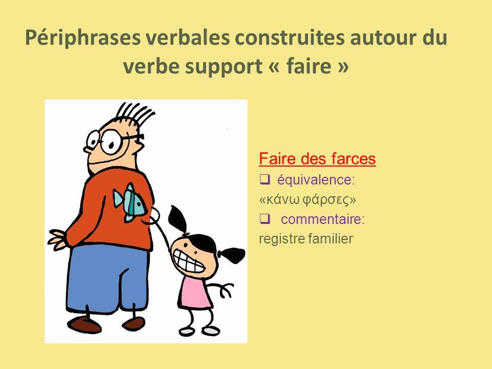 Faire des farces  équivalence: «κάνω φάρσες»  commentaire: registre familier Périphrases verbales construites autour du verbe support « faire »