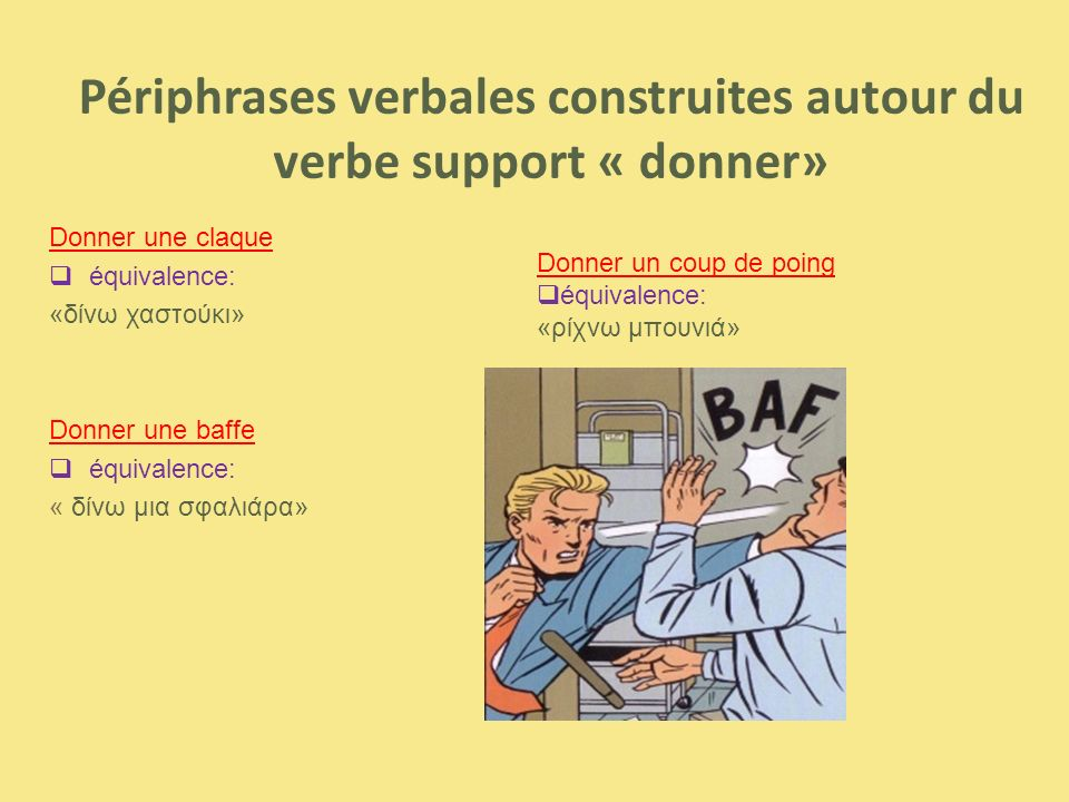 Périphrases verbales construites autour du verbe support « donner» Donner une claque  équivalence: «δίνω χαστούκι» Donner une baffe  équivalence: «