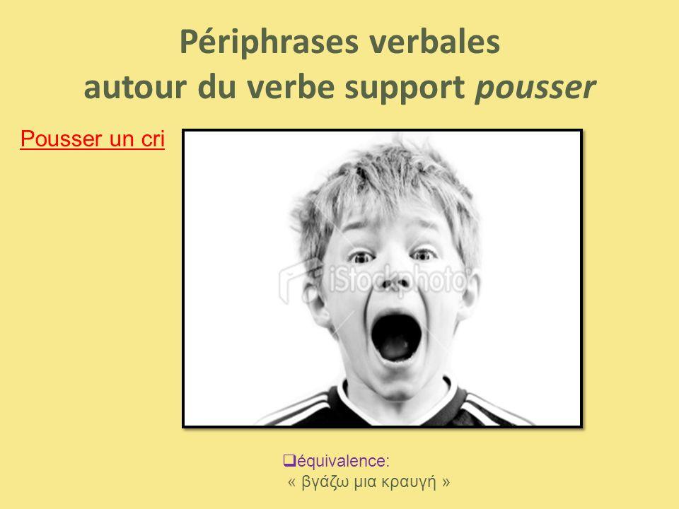 Périphrases verbales autour du verbe support pousser Pousser un cri  équivalence: « βγάζω μια κραυγή »