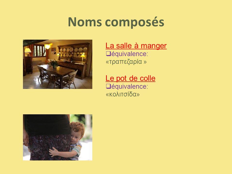 Noms composés La salle à manger  équivalence: «τραπεζαρία » Le pot de colle  équivalence: «κολιτσίδα»