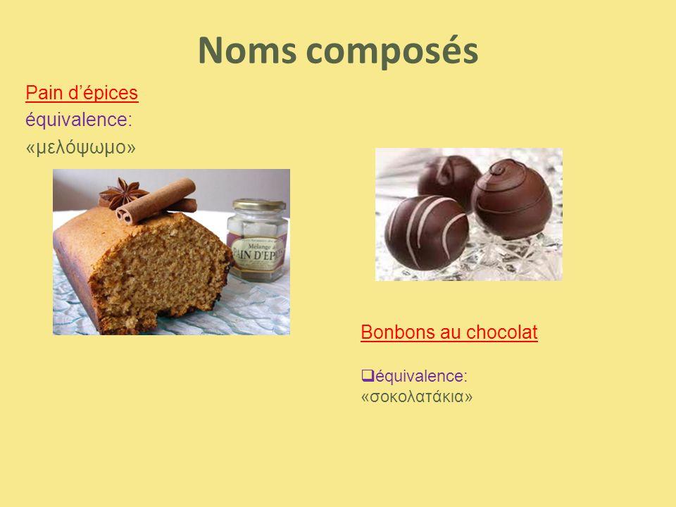 Noms composés Pain d'épices équivalence: «μελόψωμο» Bonbons au chocolat  équivalence: «σοκολατάκια»