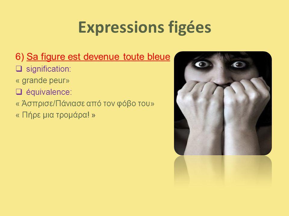 Expressions figées 6) Sa figure est devenue toute bleue  signification: « grande peur»  équivalence: « Άσπρισε/Πάνιασε από τον φόβο του» « Πήρε μια