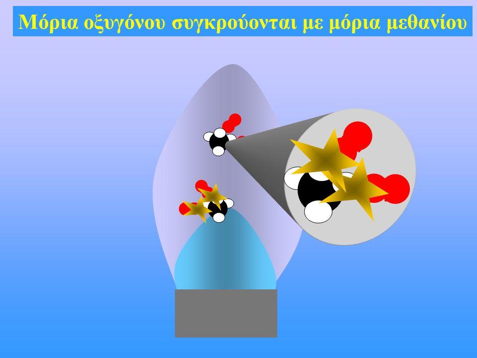Μόρια οξυγόνου συγκρούονται με μόρια μεθανίου