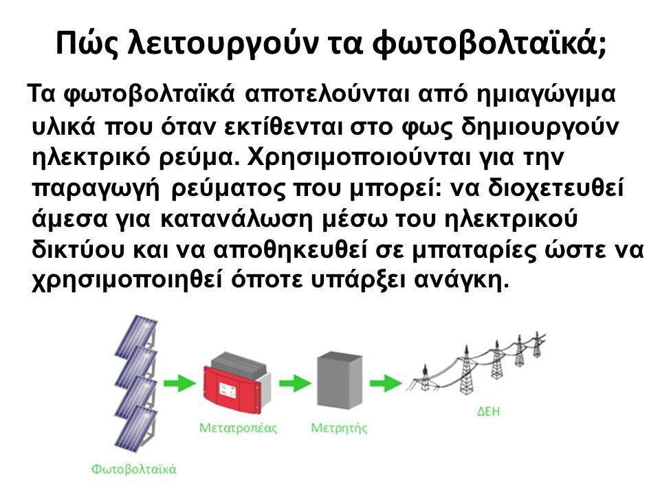 Πώς λειτουργούν τα φωτοβολταϊκά; Τα φωτοβολταϊκά αποτελούνται από ημιαγώγιμα υλικά που όταν εκτίθενται στο φως δημιουργούν ηλεκτρικό ρεύμα. Χρησιμοποι