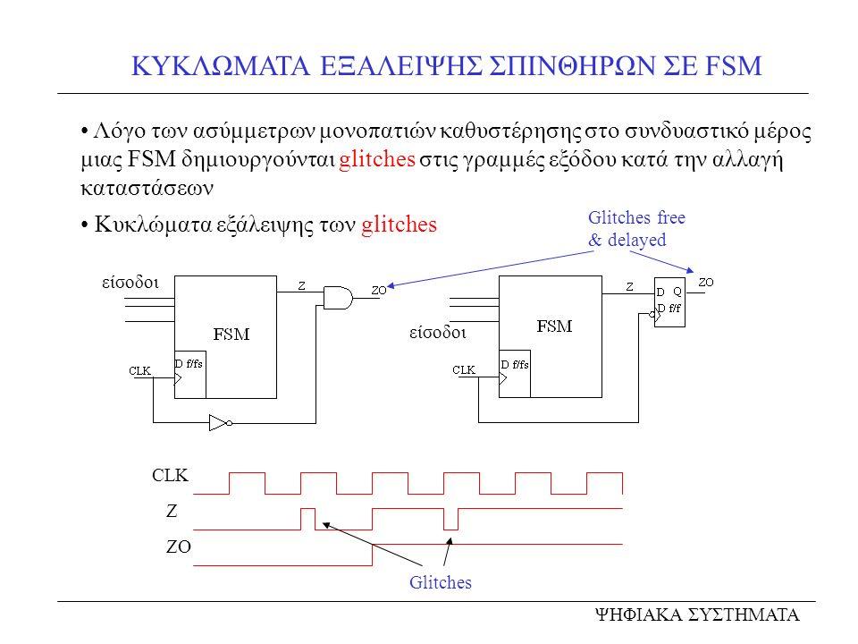 ΚΥΚΛΩΜΑΤΑ ΕΞΑΛΕΙΨΗΣ ΣΠΙΝΘΗΡΩΝ ΣΕ FSM ΨΗΦΙΑΚΑ ΣΥΣΤΗΜΑΤΑ Λόγο των ασύμμετρων μονοπατιών καθυστέρησης στο συνδυαστικό μέρος μιας FSM δημιουργούνται glitches στις γραμμές εξόδου κατά την αλλαγή καταστάσεων Κυκλώματα εξάλειψης των glitches Glitches free & delayed είσοδοι CLK Z ZO Glitches