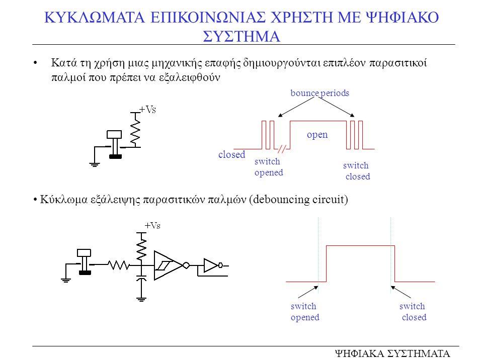 ΚΥΚΛΩΜΑΤΑ ΕΠΙΚΟΙΝΩΝΙΑΣ ΧΡΗΣΤΗ ΜΕ ΨΗΦΙΑΚΟ ΣΥΣΤΗΜΑ Κατά τη χρήση μιας μηχανικής επαφής δημιουργούνται επιπλέον παρασιτικοί παλμοί που πρέπει να εξαλειφθούν ΨΗΦΙΑΚΑ ΣΥΣΤΗΜΑΤΑ Κύκλωμα εξάλειψης παρασιτικών παλμών (debouncing circuit) open closed bounce periods switch opened switch closed switch opened switch closed