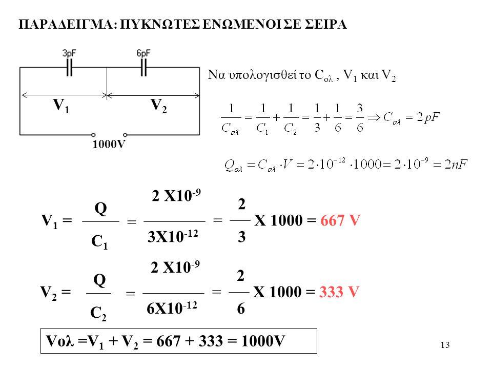 13 ΠΑΡΑΔΕΙΓΜΑ: ΠΥΚΝΩΤΕΣ ΕΝΩΜΕΝΟΙ ΣΕ ΣΕΙΡΑ 1000V Να υπολογισθεί το C ολ, V 1 και V 2 V 1 = Q C1C1 = 2 X10 -9 3X10 -12 = 2 3 X 1000 = 667 V V 2 = Q C2C2