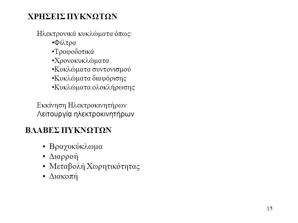 15 ΧΡΗΣΕΙΣ ΠΥΚΝΩΤΩΝ Ηλεκτρονικά κυκλώματα όπως: Φίλτρα Τροφοδοτικά Χρονοκυκλώματα Κυκλώματα συντονισμού Κυκλώματα διαφόρισης Κυκλώματα ολοκλήρωσης Εκκ