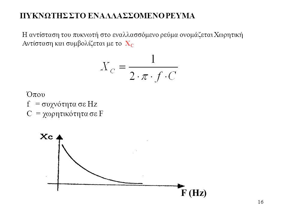 16 ΠΥΚΝΩΤΗΣ ΣΤΟ ΕΝΑΛΛΑΣΣΟΜΕΝΟ ΡΕΥΜΑ Η αντίσταση του πυκνωτή στο εναλλασσόμενο ρεύμα ονομάζεται Χωρητική Αντίσταση και συμβολίζεται με το X C Όπου f =