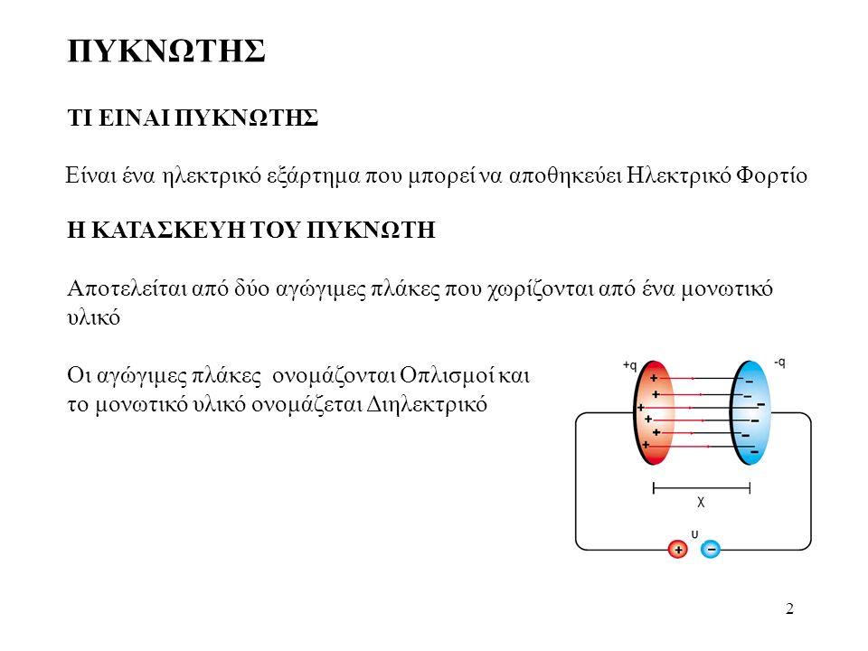 3 ΦΟΡΤΙΣΗ ΠΥΚΝΩΤΗ Ένας Πυκνωτής όταν συνδεθεί με μια πηγή συνεχούς ρεύματος, οι πλάκες του φορτίζονται η μια θετικά και η άλλη αρνητικά.