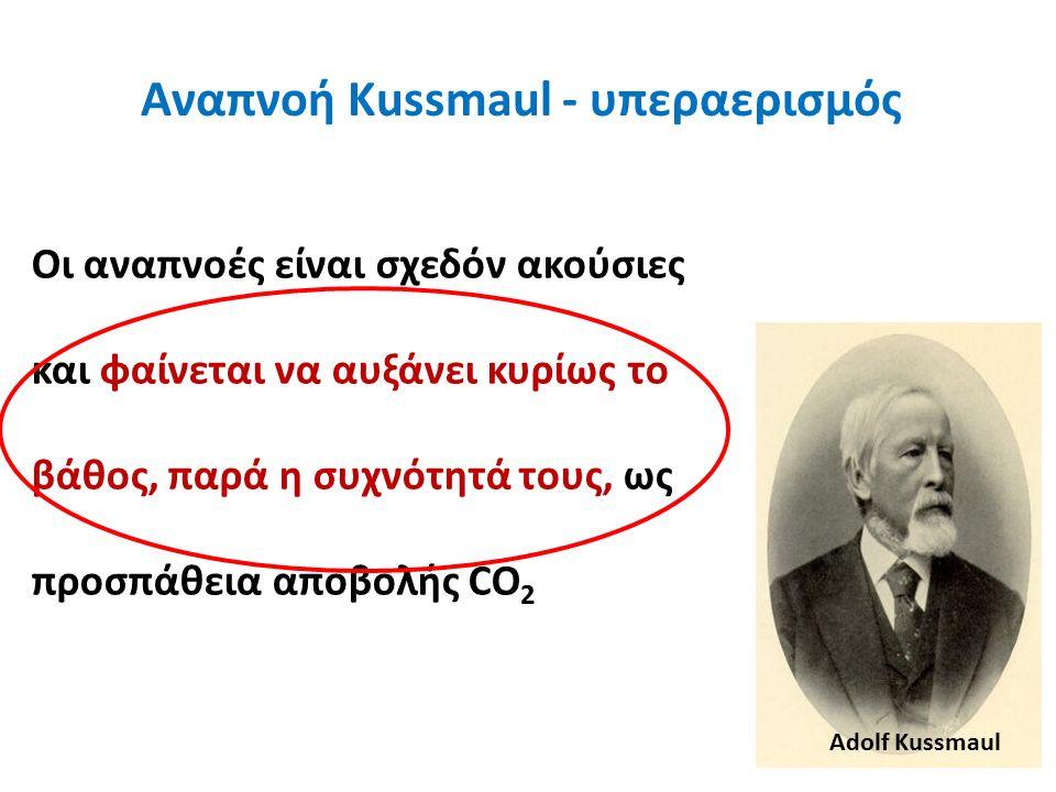 Αναπνοή Kussmaul - υπεραερισμός Οι αναπνοές είναι σχεδόν ακούσιες και φαίνεται να αυξάνει κυρίως το βάθος, παρά η συχνότητά τους, ως προσπάθεια αποβολής CO 2 Adolf Kussmaul