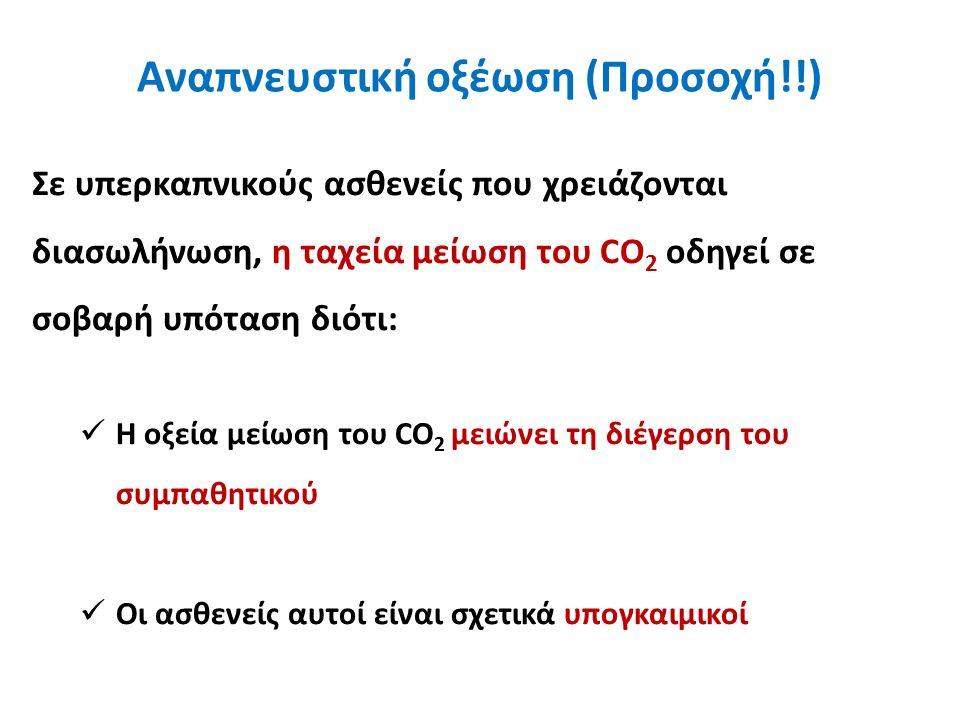 Αναπνευστική οξέωση (Προσοχή!!) Σε υπερκαπνικούς ασθενείς που χρειάζονται διασωλήνωση, η ταχεία μείωση του CO 2 οδηγεί σε σοβαρή υπόταση διότι: Η οξεία μείωση του CO 2 μειώνει τη διέγερση του συμπαθητικού Οι ασθενείς αυτοί είναι σχετικά υπογκαιμικοί